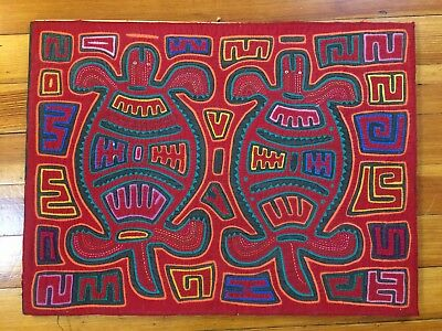 Kuna Traditional Mola Hand Stitched Applique Art Panama Two Turtles Folk Art