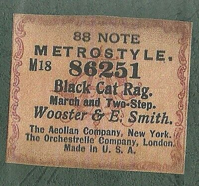 Black Cat Rag, Wooster & Smith, Metrostyle 86251 Piano Roll Original