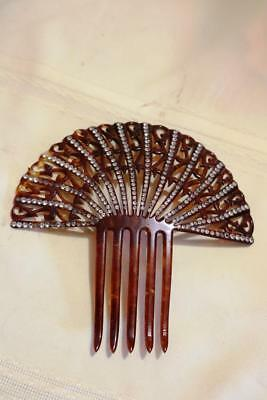Large Victorian Hair Comb  Faux Tortoise Shell Rhinestones Lots Of Bling