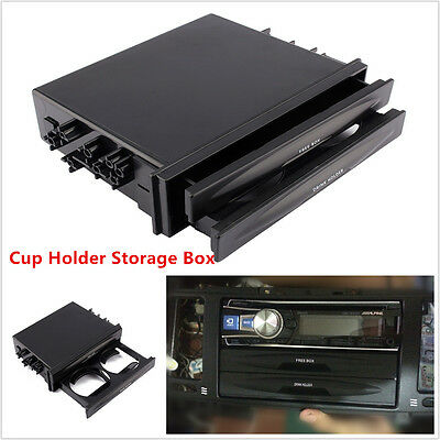 Universal Deluxe Car Auto Double Din Radio Pocket Drink Cup Holder & Storage Box