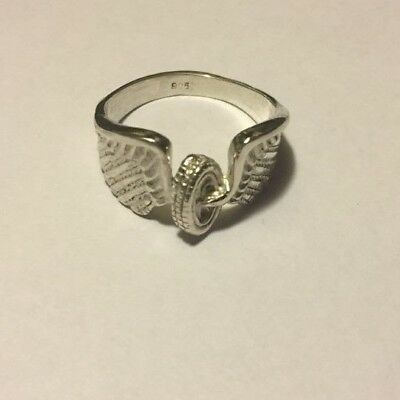 Vintage Design Wings and Wheel ring Sterling Silver 925 Ring SIZE 8