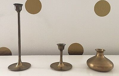 Assorted Vintage Brass Candlesticks 3 Piece Lot Candleholders Wedding Decor Home