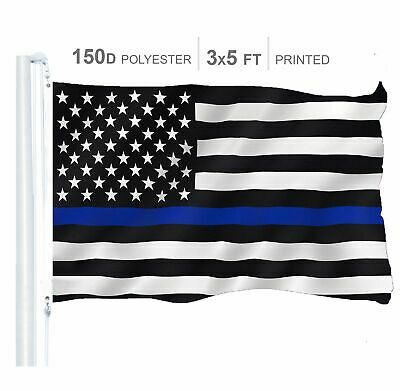 Thin Blue Line Flag 150D Printed Polyester 3x5 Ft