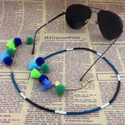 Pompon Ball Beaded Sunglasses Reading Glasses Holder Neck Cord Metal Chain Rope