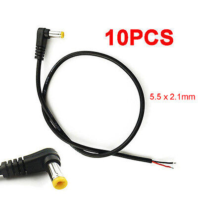 5.5ft 2wire Cord Replacement Cable Right Angle 5.5mm//2.5mm DC Power Plug Tip End