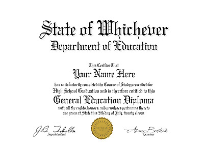 Fun Fake Un-Bordered GED Diploma with Gold seal for all occasions