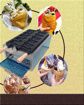 Commercial Electric Fish Type Waffle Fryer Maker Open Mouth Taiyaki Machine 110V