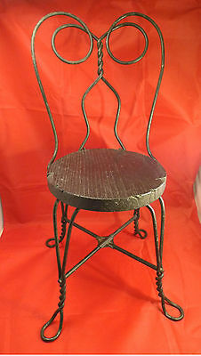 "Antique Child Doll Ice Cream Chair Small Wood Wooden & Iron 22"" x 11"" x 12"""