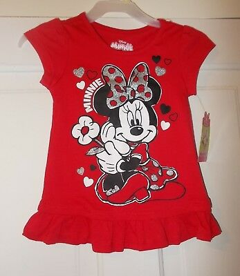 Girls Size 2T, 4T, 5T Disney's Minnie Mouse Red short Sleeve Shirt NEW