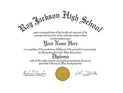 Fun Fake Un-Bordered High School Diploma with Gold Seal for all occasions