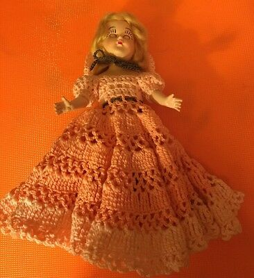 "Vintage 7"" Southern Belle Sleep Eye Doll In Crochet Outfit (7)"