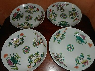 A Group Of Four Chinese Straits Export Porcelain Dishes  (Nyonya)  Late Ching