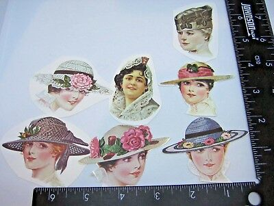 Antique Victorian Die Cut Paper Color Cut Outs Scrap Booking Ladies Heads Hats
