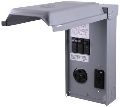 Unmetered RV Outlet Box GCFI Circuit Protected Receptacles GE 70 Amp 240 Volt
