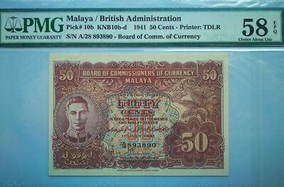 Board of Commissioners of Malaya 50 Cents Graded PMG 58 EPQ