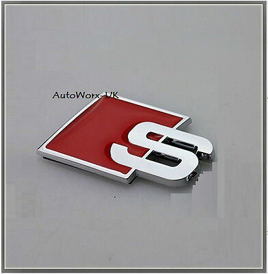 S Badge Emblem Decal quattro red chrome line audi rear boot lid tailgate trunk