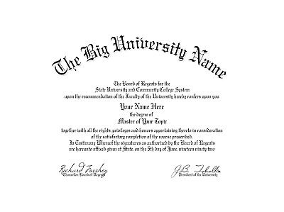 Fun Fake Un-Bordered University of Anywhere College Diploma for all occasions
