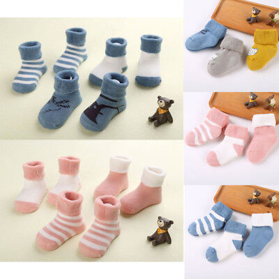 AU 3PCS Non-Slip Girl Boy Newborn Baby Ankle Socks Booties Stockings 0-24M CL