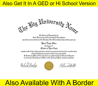 Fun Fake Un-Bordered University of Anywhere College Diploma with Gold seal