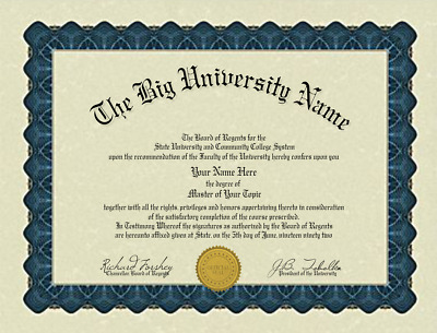 Fun Fake Bordered University of Anywhere College Diploma with Gold seal