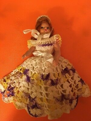 "Vintage 7"" Southern Belle Doll In  Costume Crochet Outfit (13)"