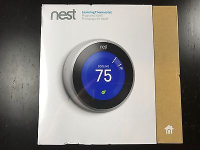 New Nest Learning Thermostat 3rd Generation WiFi T3007ES - Stainless Steel BNIB