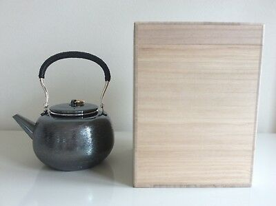 Japanese New Pure Silver Tea Kettle signed 純銀堂 / W19× H20[cm] 490g / with Box