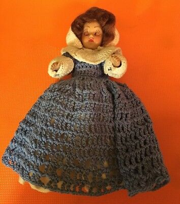 "Vintage 7"" Sleep Eye Doll In Blue/white Crochet Outfit (15)"