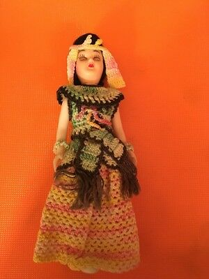"Vintage 7"" Asian Ethic Doll In Costume Crochet Outfit (16)"