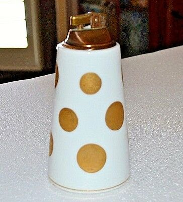 """Vintage White with Gold Coins Porcelain Table Lighter 5 1/2"""" tall 3 """" bottom"""