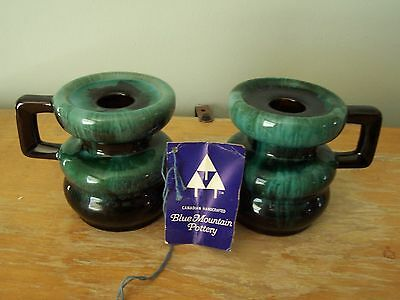 Rare Blue Mountain Pottery Candlestick Holders With Label & Original Box