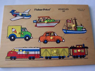 Vintage Fisher-Price Wooden Tray Puzzle #508 - Vehicles - 8 Pieces
