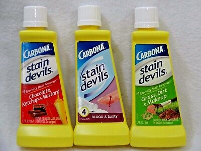 Lot of 3 THREE NEW CARBONA STAIN DEVILS Stain Removers #2, #4 & #6 Variety