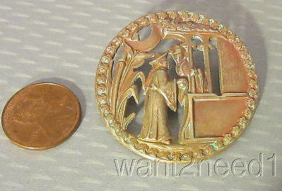 antique French brass metal ASIAN LOVERS IN GARDEN PICTURE BUTTON big 42mm