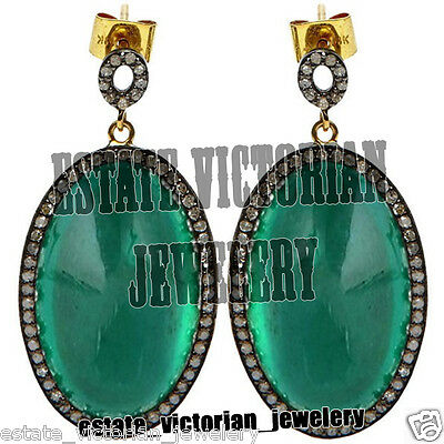 Vintage Estate 2.85Cts Rose Cut Diamond Jewelry Sterling Silver Emerald Earring