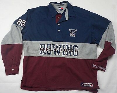2acbffc6a Rare Vintage TOMMY HILFIGER Athletics Rowing Spell Out 88 Rugby Shirt 90s L