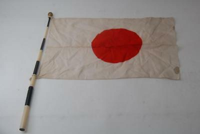 Japanese WW2 Army/Navy Seeing Off Rising Sun Cloth Hata with pole #a5951