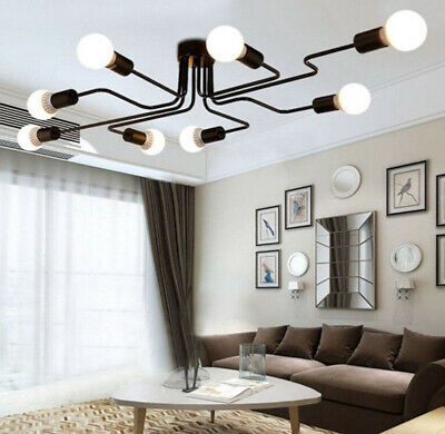 Retro Industrial Steampunk Semi Flush Mount Ceiling Light Pendant Lamp Fixture