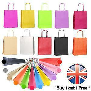 *UK Seller* Paper Kraft Loot Bags Handles Gift Carrier Wedding Party