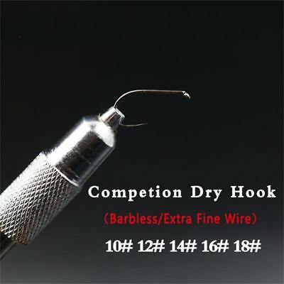 10pcs/set Super Fine Wire Barbless Dry Fly Hooks 10#
