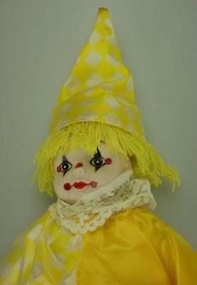 "Porcelain Head, Hands & Feet Lady Clown in Yellow Outfit 12"" tall SA151"