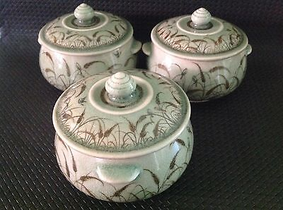 Celadon Siam Hand Made/painted Pottery Lidded Bowls, Reeds, Birds, Vintage 1978+