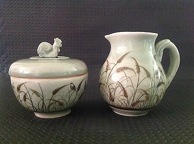Celadon Siam Hand Made/painted Pottery Jug & Sugar, Reeds, Birds, Vintage 1978+