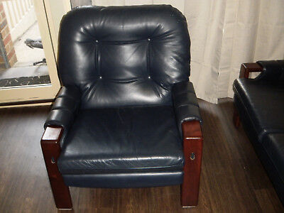 Sofa Chair Leather Retro Italian Style ReUpholstered 1 seater lounge