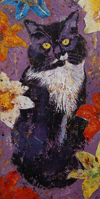 """CAT WITH TIGER LILIES 12x24"""" Oil Painting Portrait Flowers Original M.Creese"""