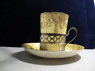 Fine Crown Stadfforshire Cup And Saucer With Sterling Silver Holder