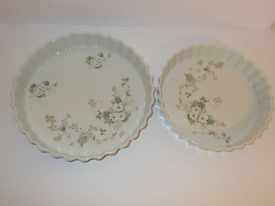 2 x Real Brasil Porcelain Tart Dishes Pie Dishes Fluted Edge Flan Dishes Lovely