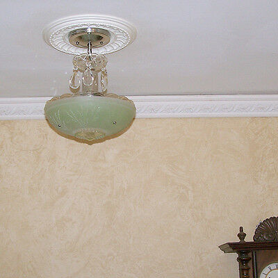 158b Vintage aRT DEco CEILING LIGHT chandelier fixture glass jadeite 3 Light