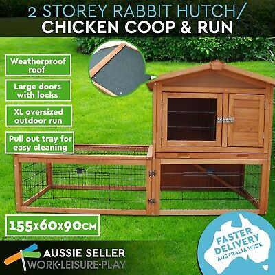 Rabbit Hutch Wooden Chicken Coop Guinea Pig Ferret Cage Hen House 2 Storey Tray