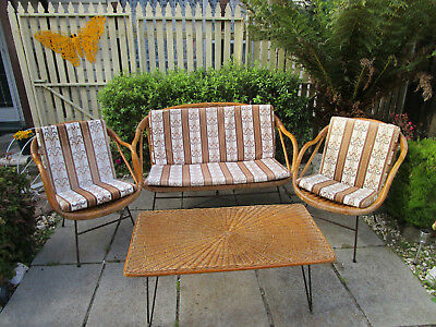 Retro Cane 2 Seater Lounge, 2 Chairs & Coffee Table,Cushions  P/up Frankston Vic